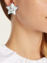 MIU MIU Crystal-embellished baby-blue plexiglass clip-on earrings