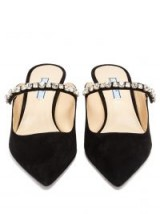 PRADA Crystal-embellished black suede mules ~ diamante detail