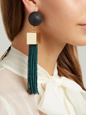 VANDA JACINTHO Cube tassel-drop earrings ~ green statement accessory