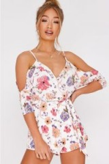 IN THE STYLE DAINIA WHITE FLORAL COLD SHOULDER PLAYSUIT – strappy summer romper