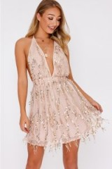 IN THE STYLE DARBI NUDE SEQUIN TASSEL PLUNGE BACKLESS DRESS – pale pink party dresses
