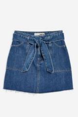 Topshop Denim Utility Skirt in Mid Stone | tie waist mini