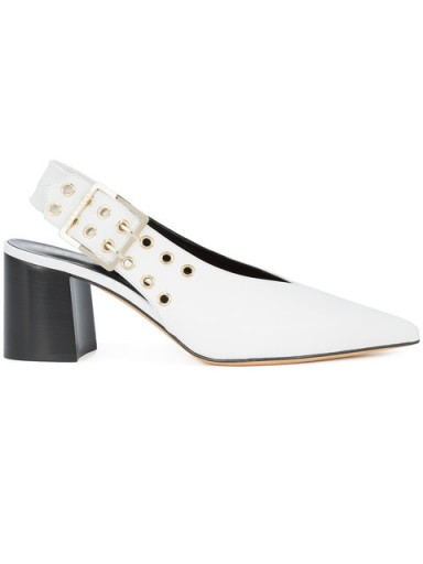 DEREK LAM Debbie H. / white leather chunky slingback pumps