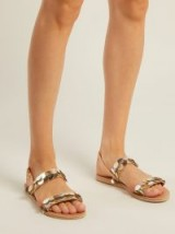 ANCIENT GREEK SANDALS Disc sequin leather and cotton sandals ~ metallic vacation flats