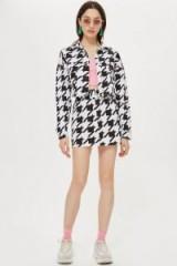 TOPSHOP Dogstooth Denim Jacket / large check prints