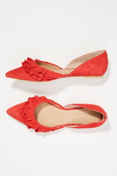 ANTHROPOLOGIE Dorsay Ruffled-Suede Flats Red ~ pointy toes