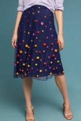 Maeve Dotted Tulle Skirt in Blue ~ pom pom embellished