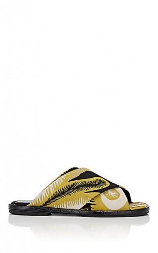DRIES VAN NOTEN Leaf-Pattern Jacquard Slide Sandals / yellow summer flats