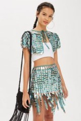 Topshop Drop Skirt in Green | sequinned festival fashion