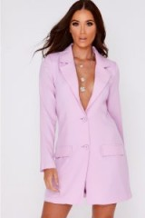 IN THE STYLE DYLYNN LILAC PLUNGE STRUCTURED BLAZER DRESS – deep v neckline