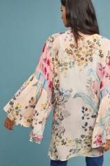 Anthropologie Elina Ruffled Kimono in pink | lightweight oriental style wide sleeve jackets