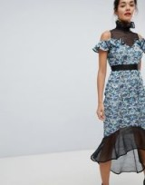 Elliatt High Neck Lace Midi Dress Blue – romantic style occasion fashion