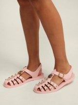 GUCCI Embellished pink rubber sandals | crystal studded summer flats