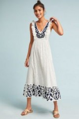 Anthropologie Embroidered Eyelet Midi Dress in White | pretty summer frock