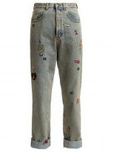 GUCCI Embroidered high-rise jeans | stone washed denim