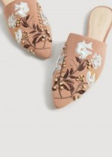 MANGO Embroidered shoes in pale pink | beaded flat mules