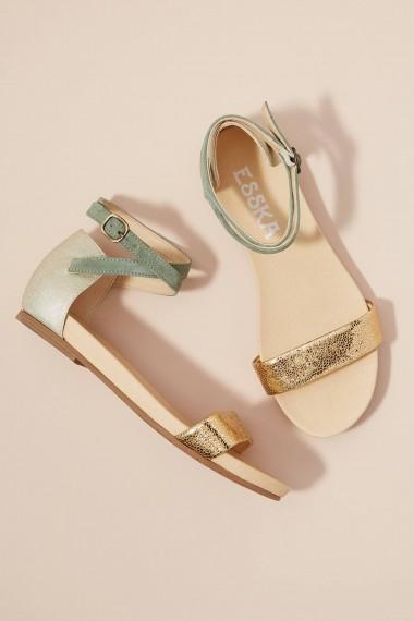 Esska Kalle Two-Tone Sandals Green ~ metallic ankle strap flats