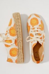 Fabienne Chapot Printed-Espadrille Trainers Orange Motif | fruit print sneakers