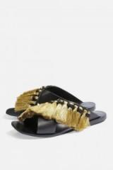 TOPSHOP Fifi Fringe Sandals / black leather tasseled flats