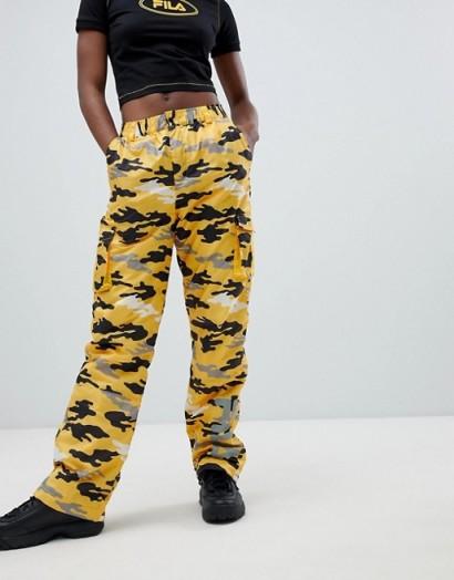Fila Cargo Trousers In Bright Camo in Yellow