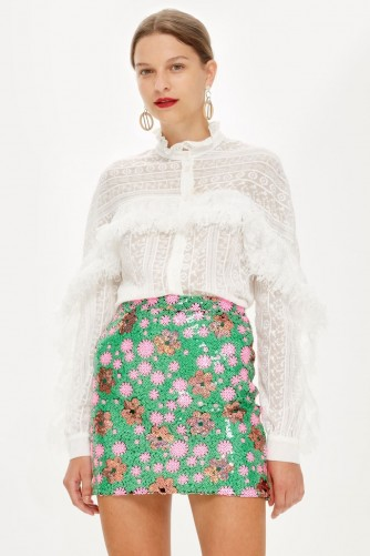 TOPSHOP Flower Sequin Mini Skirt / my floral romance