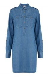 Warehouse FOUR POCKET SHIRT DRESS in Mid Wash Denim