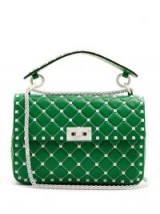 VALENTINO Green Free Rockstud Spike quilted-leather shoulder bag