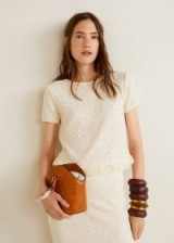 MANGO Fringed detail knit top in ecru | knitted natural tone summer tops