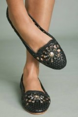 Gioseppo Woven Ballet Flats in Black | jewelled leather ballerinas