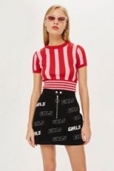 TOPSHOP 'Girl' Denim A-Line Skirt / slogan fashion