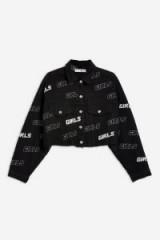 TOPSHOP 'Girls' Hacked Denim Jacket / slogan print fashion