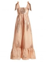 ATHENA PROCOPIOU Gold Dust metallic-weave dress ~ shimmering pink summer maxi