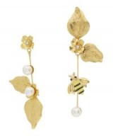 JENNIFER BEHR Gold-Plated Flower and Bee Earrings – mismatched statement jewellery