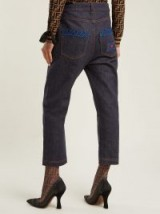 FENDI Heart-embroidered boyfriend jeans ~ cropped denim pants