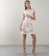 REISS INES FLORAL EMBROIDERED OVERLAY DRESS WHITE/NUDE ~ feminine summer event look