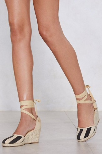 NASTY GAL It's All Stripe For Some Espadrille Wedge