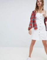Jack Wills White Denim Button through Dress | strappy summer style