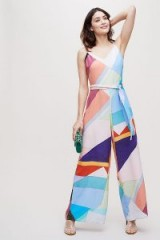 Seen Worn Kept Judanna Printed-Silk Jumpsuit | abstract colour bock prints