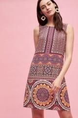 Kachel Cleopatra Printed-Silk Dress | retro print shift