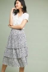 Kachel Helga Ruffle-Tiered Printed Skirt | white and black | polka dots