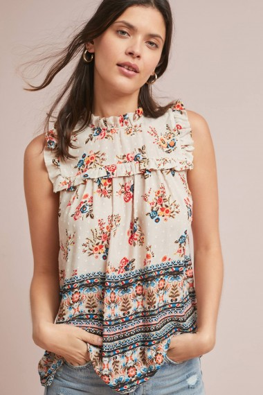 Eri + Ali Keely Ruffled-Printed Top Orange Motif ~ pretty frill trimmed summer blouse