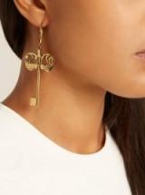 ALEXANDER MCQUEEN Key drop earrings ~ gold-tone statement jewellery