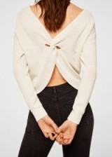 MANGO Knot detail sweater in ecru | neutral summer knits