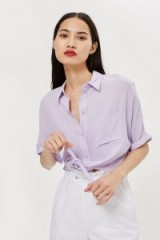 TOPSHOP Lilac Knot Front Shirt – casual summer look