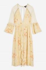 TOPSHOP Lace Midi Skater Dress Ivory / vintage style floral fashion / plunged neckline