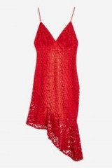 Topshop Lace Plunge Asymmetrical Hem Dress in Red | plunging necklines