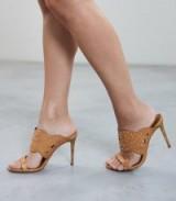 LASA STUDDED MULES TAN ~ light-brown high heeled sandals