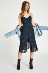 JACK WILLS LEDBURY BUTTON THROUGH MIDI CAMI DRESS in Navy | blue frill hem summer slip