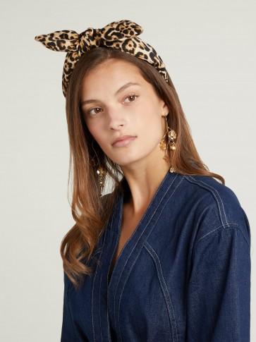 HOUSE OF LAFAYETTE Leopard-print bow silk headband ~ animal prints