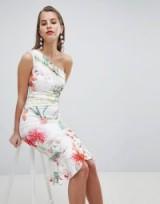 Lipsy lace one shoulder flippy hem midi dress / party glamour